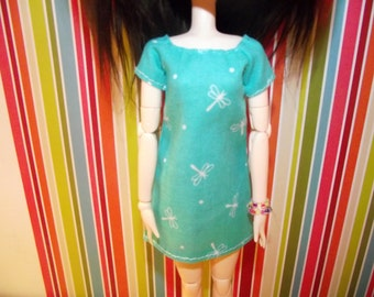 Mint green blue with white dragonflies shirt dress for pullip