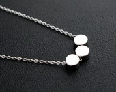 Three Tiny Round Disc Pendant Silver Necklace Disc Necklace