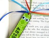 Personalized Kids Childrens Bookmark Stocking Stuffer Custom Name Book Mark Class Gift Green Book Marker Bookworm