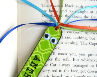 Personalized Kids Childrens Bookmark Stocking Stuffer Custom Name Book Mark Class Gift Green Book Marker Bookworm