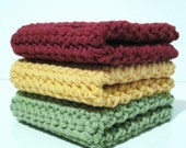 Crochet Wash Cloths,  Dish Cloths, Set of Three
