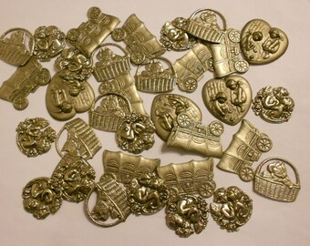 Stamped TIN Craft/Jewelry Making MEDALS  Based on Antique Designs-30+