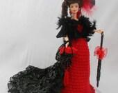 Victorian Bustle Doll- Red Black Victorian Doll-Doll Dress Ruby Rhinestones