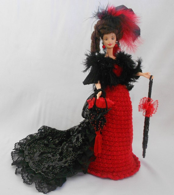 Victorian Bustle Doll- Red Black Victorian Doll-Doll Dress Ruby Rhinestones