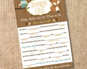 Woodland Printable Baby Shower Mad Libs Woodland Animals Baby Shower Game Printable -  Advice for the Mom-to-Be - INSTANT DOWNLOAD