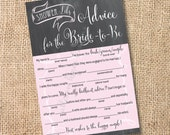 Pink and Gray Chalkboard Printable Bridal Shower Mad Libs Advice for the Bride-to-Be - INSTANT DOWNLOAD