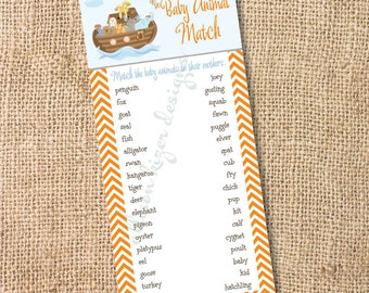 Noah's Ark Printable Baby Shower Game - Baby Animal Matching Game - INSTANT DOWLOAD