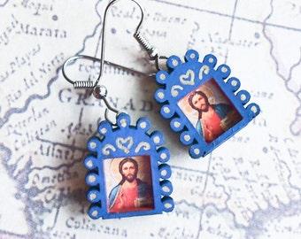 Sacred Heart of Jesus Icon Milagro Earrings