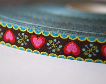 Jacquard Ribbon, Heart Ribbon, Chirpy Heart Ribbon, Farbenmix Chirpy Hearts Ribbon, Brown Heart Sewing Tape, 1 metre