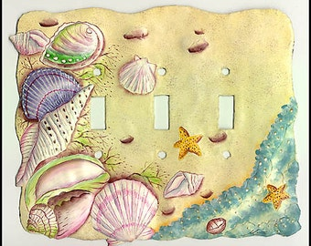 Tropical Switchplate - Switchplate Covers,Island Decor, Light Switch Plate Covers - Triple - Hand Painted Metal Seashells - S-1028-3