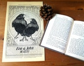 Ravens Love White Wedding Anniversary Engagement Valentine Gift Personalized Art Print on Antique 1896 Dictionary Book Page