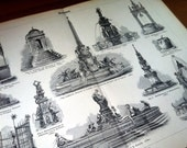 Fountain Well Architecture Antique Original 1896 Lithograph from Vintage Dictionary OOAK One of a kind
