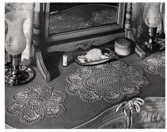 Scallop Shell Doily Round and Oval Crochet Pattern, c.1942