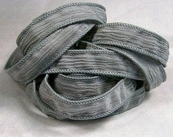 Hand Dyed Silk Ribbons - Crinkle Silk Jewelry Bracelet Fairy Ribbon - Silver - Quintessence - Medium Grey