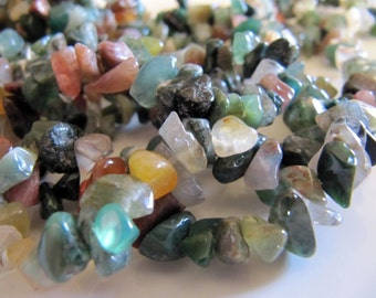 Indian AGATE Chip Beads in Green, Brown, Earth Tone Shades, Gemstone Nuggets, 5mm to 8mm, 1 Strand, 35in, Stone Beads, Spacer
