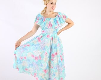 Dress 80s Vintage 1980s Romantic Floral Full Skirt  Sun Dress M Medium Ruffle Collar Petite