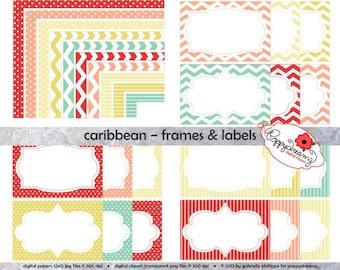Caribbean Frames & Labels: Clip Art Pack Card Making Digital Frames Page Borders Chevron Dots Stripes