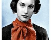 Vintage Knitting Pattern 1950s Scarf Collar Pearl Tinsel Trim Pattern PDF