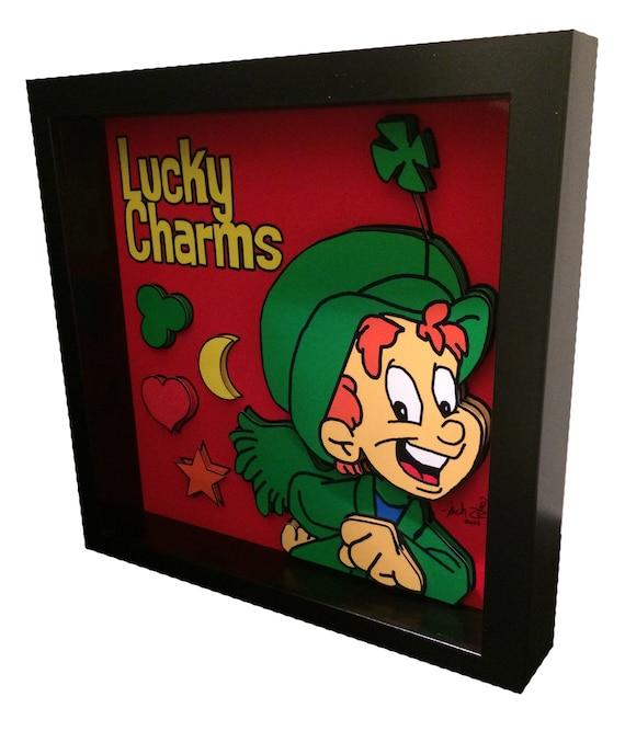 Lucky Charms Cereal Box Art Leprechaun Irish Funny Kitchen Art