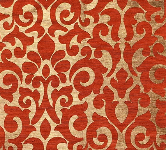 Custom Curtains With Burnt Orange Gold Damask Pattern One