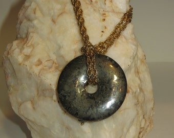 Pyrite Donut Pendant with Golden Repurposed Chain