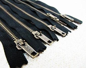 12inch - Black Metal Zipper - Brass Teeth - 5pcs