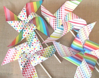 Paper Pinwheels Rainbow Pinwheels XL Yard Size Custom Made Set of 4 Large Rainbow Pinwheels Party Favors Party Decoration Birthday Favors
