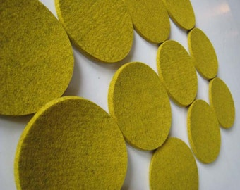 One Dozen Industrial Felt Coasters Mustard, Yellow Felt Drink Coasters