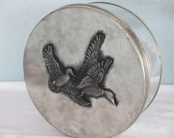 Metzke Tin Pewter/ Flying Geese/ Mallards Designs by Metzke/ Embossed Emblem/Storage Box/ Metal Container/ By Gatormom13 JUST REDUCED