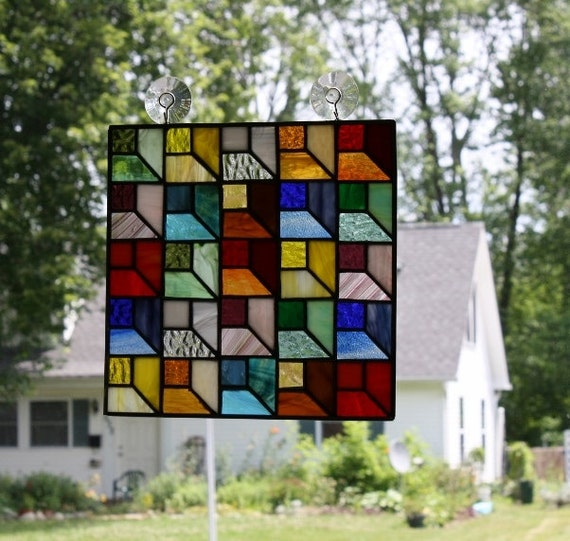Stained Glass Panel Attic Window Quilt Block by ...