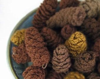 Pine Cone Ornament Crochet Decoration Holiday Decor Vase Filler - Dark Browns -  (6 Cones)