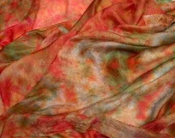 Hand-Dyed Silk - Nuno - Scarf - Shibori - Silk Habotai - Melon, Pink, Olive Green - China Silk - Nuno Felting Silk Fabric