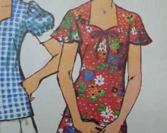 70s Dress Pattern Sweetheart Neckline Butterfly Sleeves Two Piece Dress Pattern Simplicity 5496 Bust 34