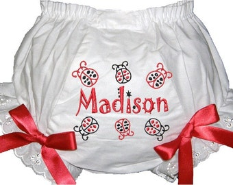 Personalized Black and Red Lady Bug Bloomers, Diaper Cover, Panties