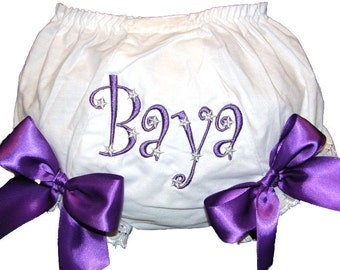 Personalized Silver Stars with Purple Bloomers Large Bows Baby Girl  Bloomers, Diaper Cover