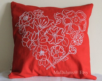 Red Flower Hart Pillow Cover