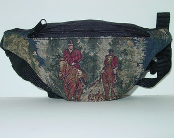 Horse Hunt Scene Hounds and Foxes Tapestry Small Fanny Pack