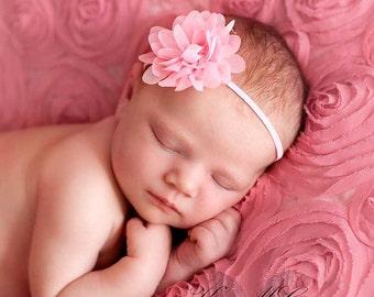 Pink baby headband, baby headband, infant headband, newborn headband,  photo prop, light pink chiffon flower on matching pink headband