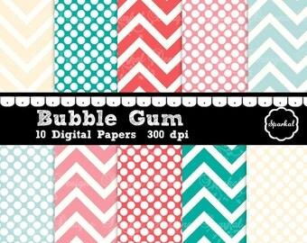 Bubble Gum Digital Paper, Preppy Digital Paper, Birthday Party Digital Paper, Invitation paper  Birthday Paper Instant Download