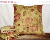 Pillow Cover 18x18 Golden Tan Floral Pattern Rose Pink Red and Green Pillow Cover Accented with wood accent