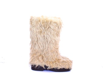 Vintage Furry Fluffy Winter Rain Boots size - 36 EU - 4 US
