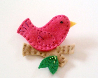hot fuschia pink bird on a branch felt pin hand stitched accessory brooch