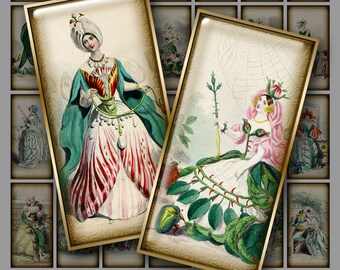 GRANDVILLE FLOWERS 1x2 inch Domino Art - Digital Printable collage sheet for Pendants Magnets Crafts...Victorian Fantasy Art