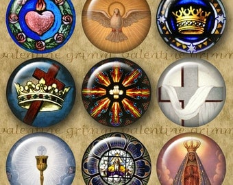 RELIGIOUS PHOTO & ART 1 inch Circles - Digital Printable Stained Glass Photo-Religious Art Mix for making Pendants Cufflinks Magnets Crafts