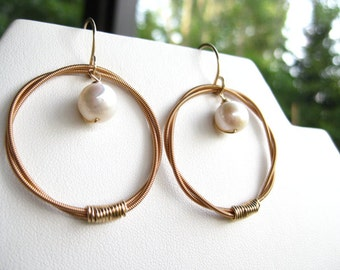 Guitar String Hoops and Freshwater Pearl Classic Earrings