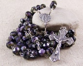 Handmade Catholic rosary in silver with purple fancy Czech rondelles