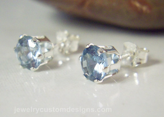 6mm Aquamarine Gemstone Earring Studs in Sterling Silver, March Birthstone Earrings, ready to ship