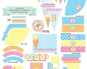 INSTANT DOWNLOAD Printable Ice Cream Birthday Party Accessory PDF Package from Little Celebrations
