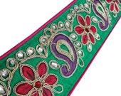 Paisley Embroidered Royal Fabric Trim Supplies Beaded Sari Border Tape Handcrafted Green Paisley Design Lace By The Yard FT398E