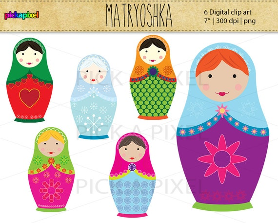 Matryoshka / Babushka dolls - digital clip art - Personal and Commercial Use